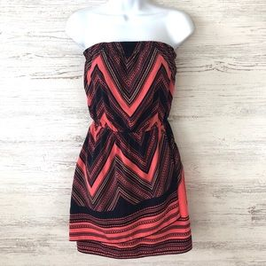 NWT EXPRESS strapless coral and blue chevron dress